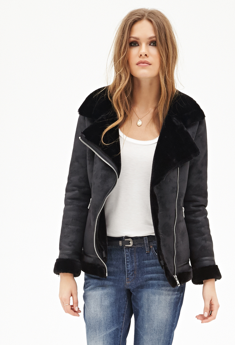 Lyst Forever 21 Faux Shearling Moto Jacket In Black