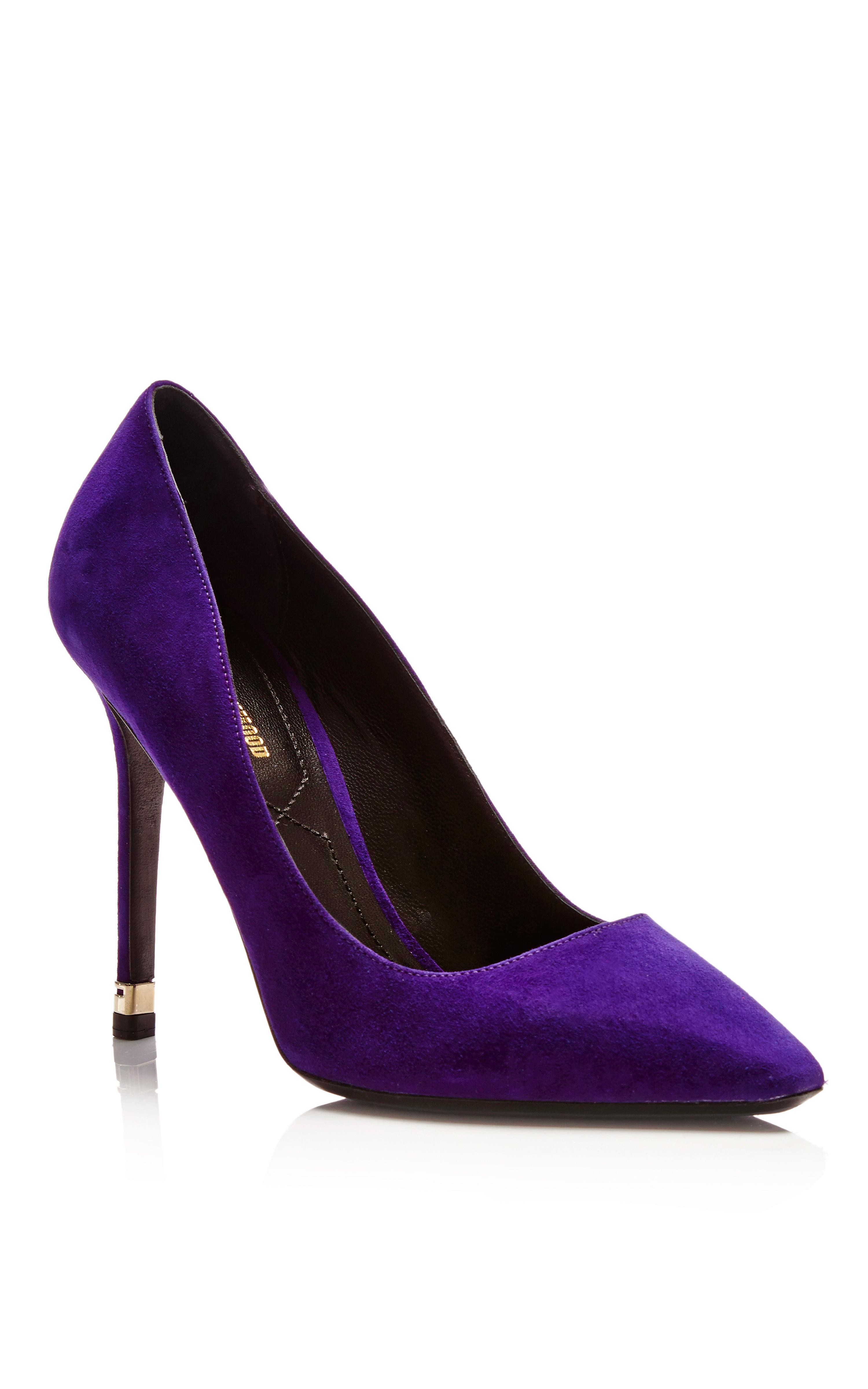 Nicholas kirkwood Purple Suede Pump with Metal Heel in Purple | Lyst