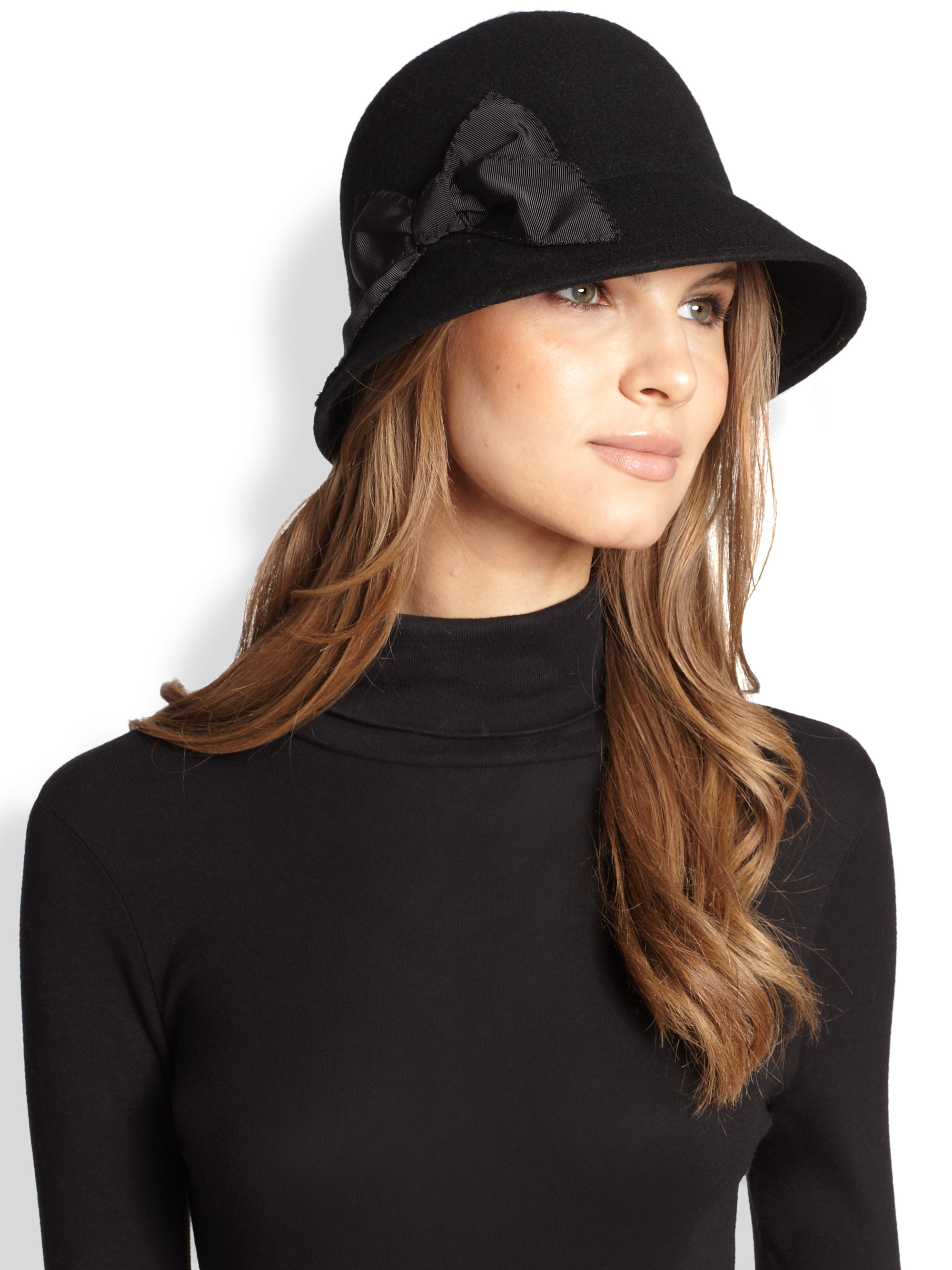 Kate Spade Bow Wool Cloche Hat In Black Lyst