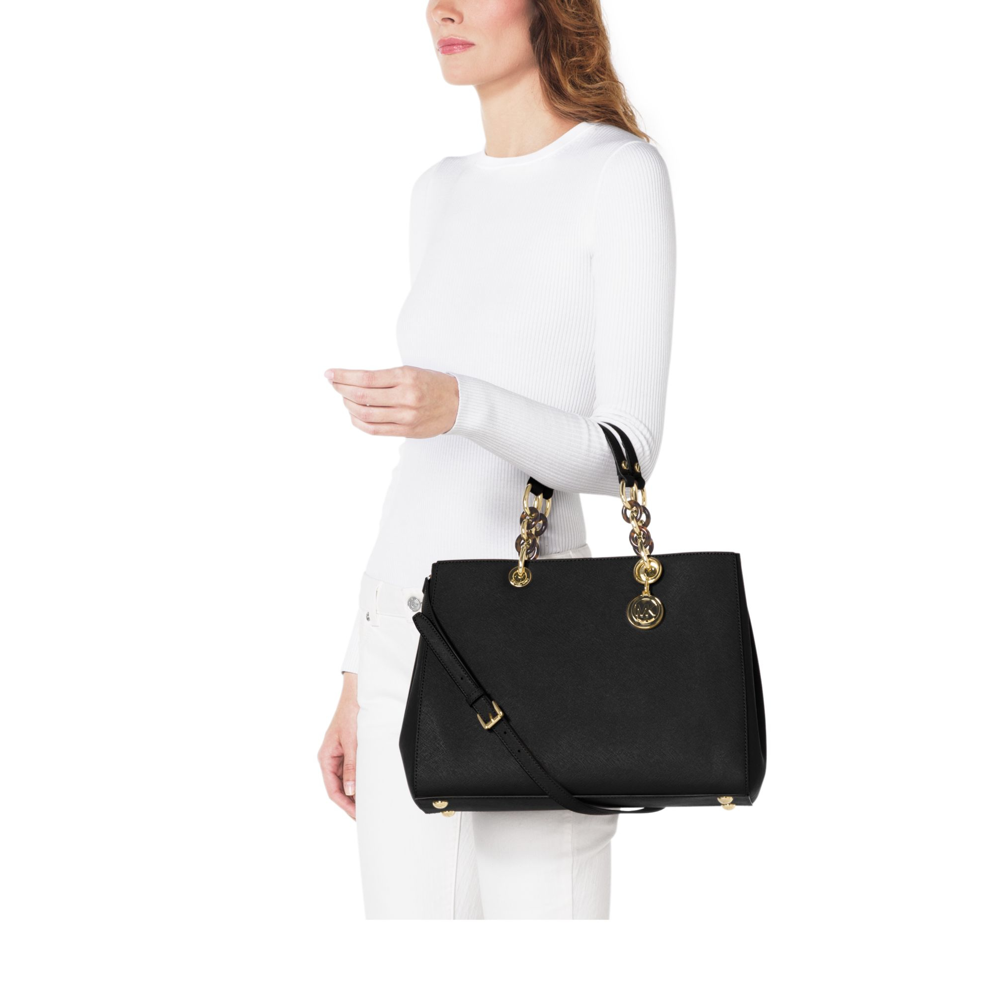 04806d27d45a Lyst - Michael Kors Cynthia Large Saffiano Leather Satchel in Black