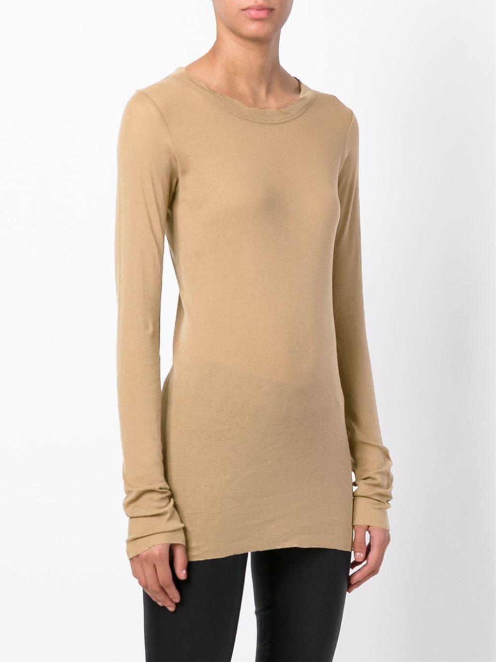 Rick owens scoop neck t shirt in beige brown lyst for Scoop neck t shirt