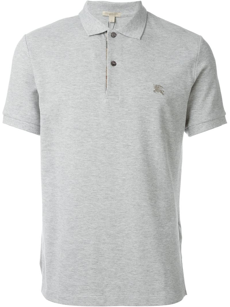 Burberry Logo Polo Shirt In Gray For Men Grey Lyst