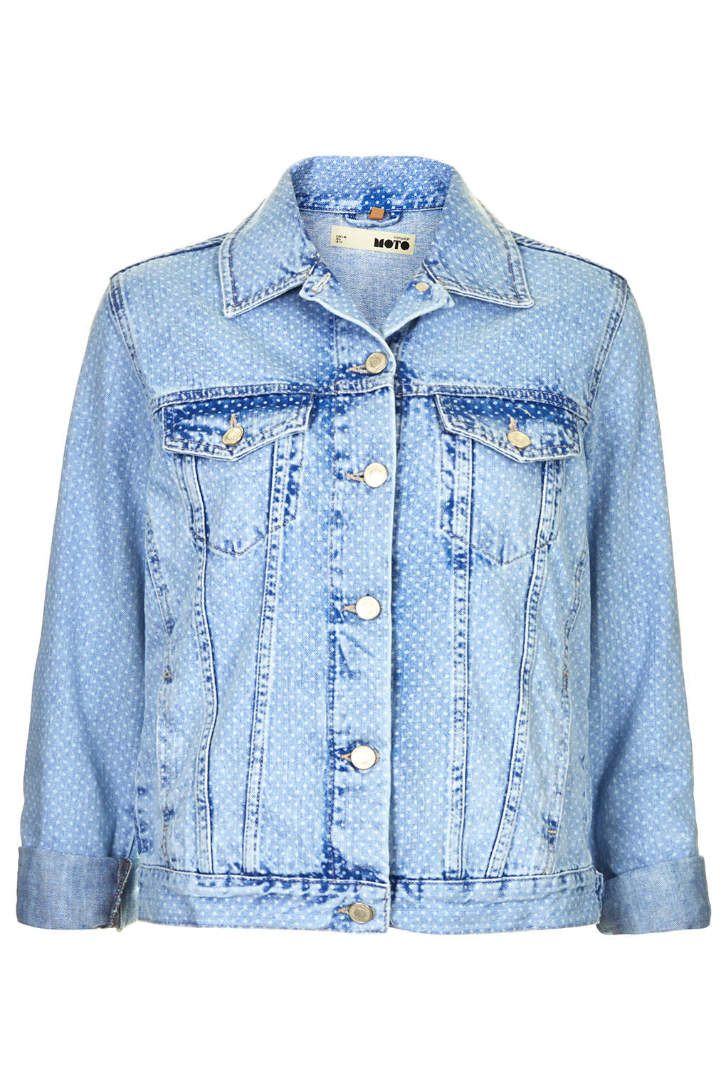 Topshop womens moto denim spot western jacket blue in blue for Womens denim shirts topshop