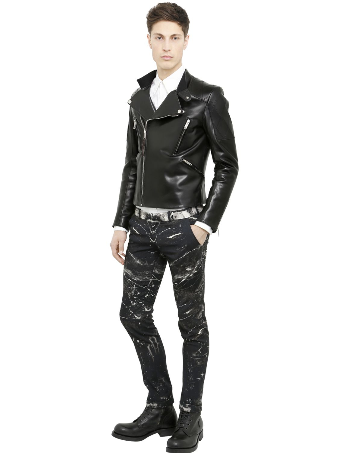 Alexander mcqueen Laser Cut Skull Biker Leather Jacket in ...
