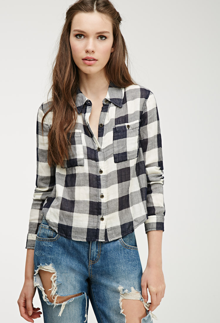 Forever 21 Flannel Plaid Shirt In Black Lyst