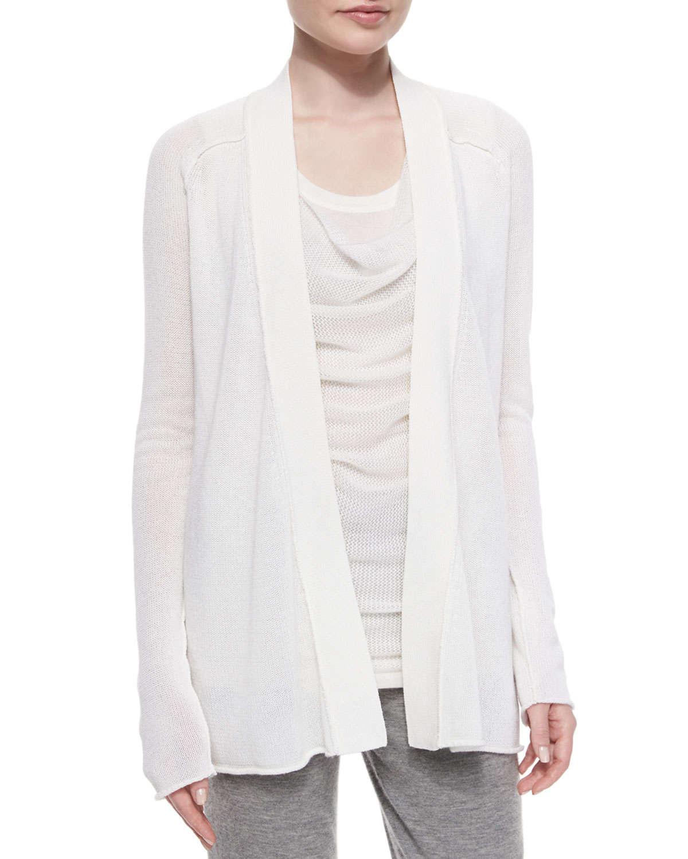 donna karan textured cashmere blend cardigan in white lyst. Black Bedroom Furniture Sets. Home Design Ideas