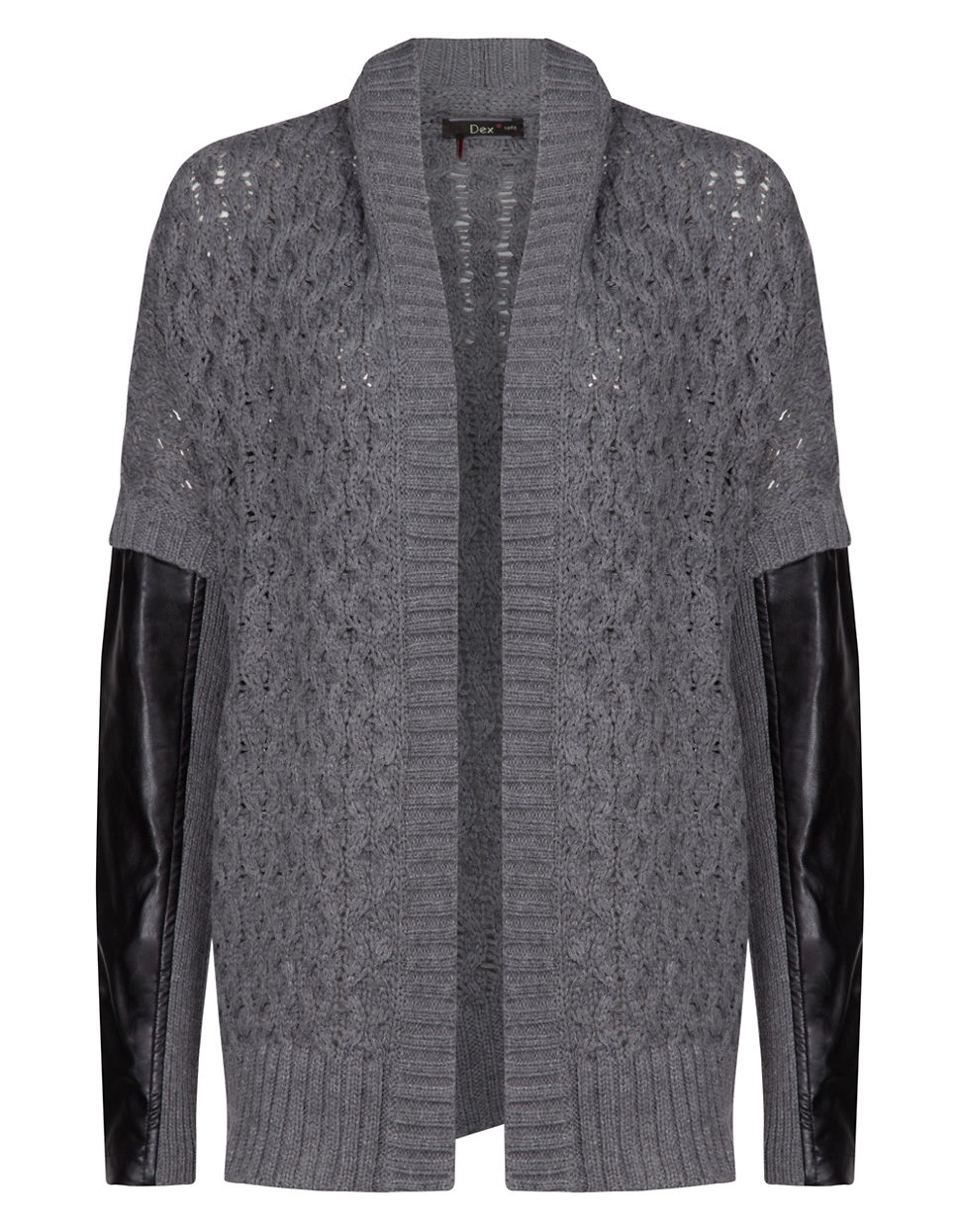 9dbaed6a8 Lyst - Dex Crocheted Cardigan With Faux Leather Paneling in Gray