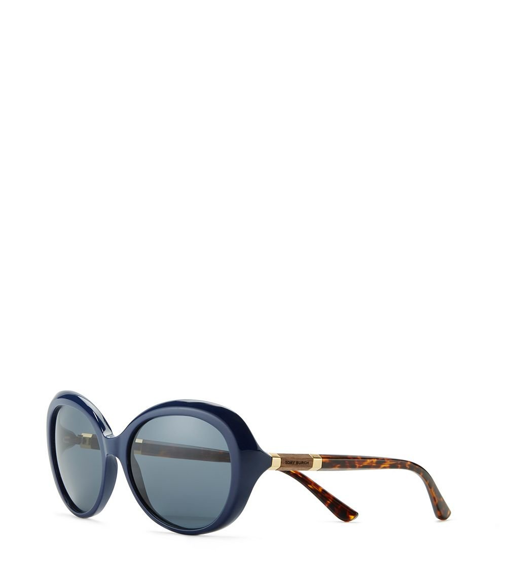 93211e6f6c1b Lyst - Tory Burch Wood-Temple Butterfly Sunglasses in Blue
