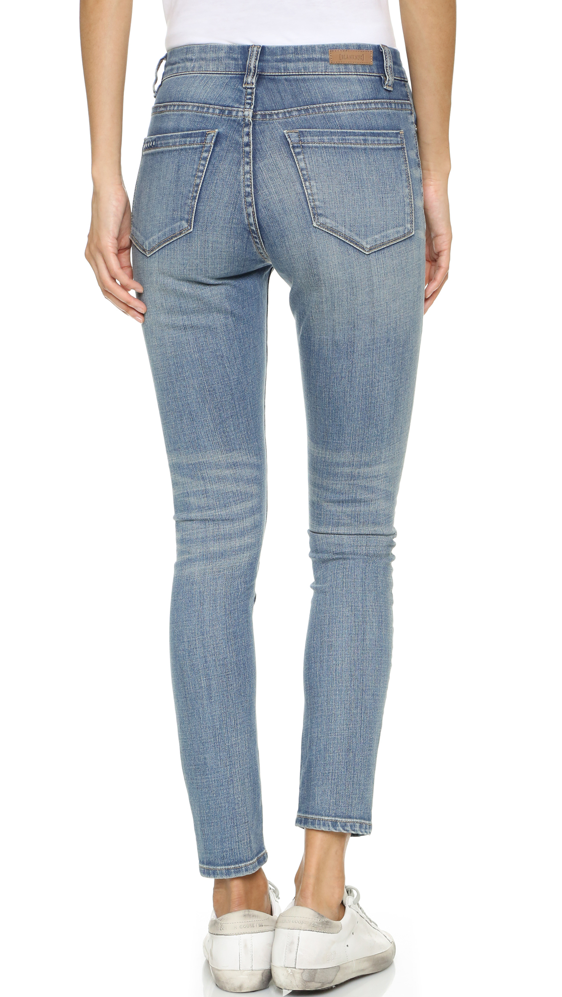 Blank High Rise Ankle Skinny Jeans in Blue | Lyst