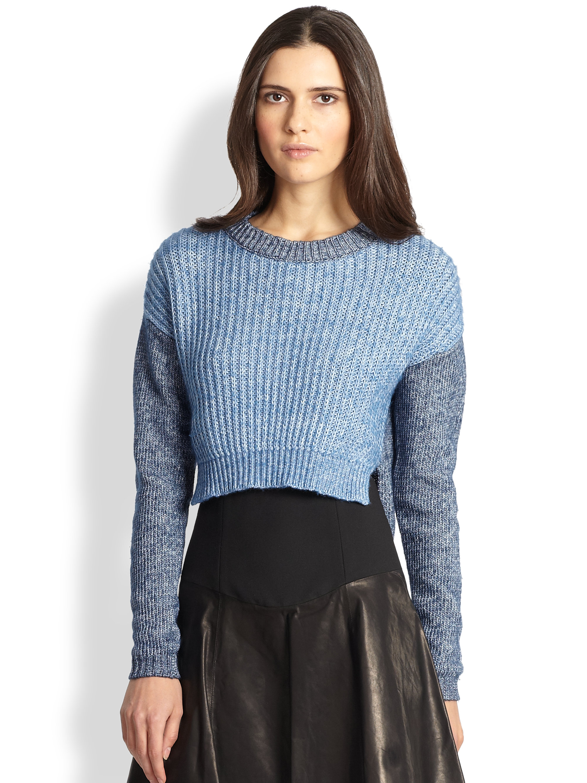 Tibi Slouchy Cropped Pullover Sweater in Blue | Lyst