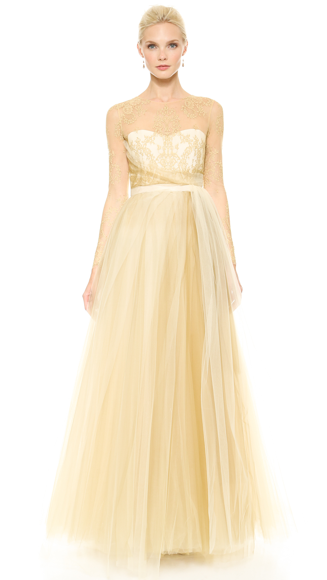 Lyst Notte By Marchesa Ball Gown With Tulle Skirt Gold