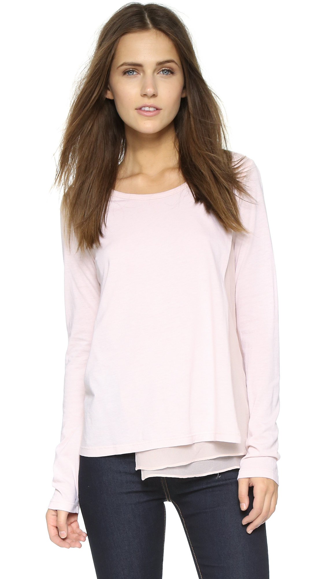Lyst Clu Silk Panel Long Sleeve Top Light Pink In Pink