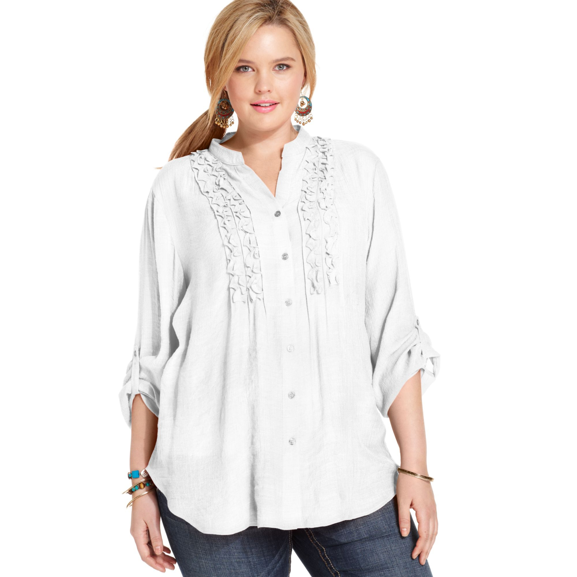 97678993437 Lyst - Spense Plus Size Threequartersleeve Ruffled Blouse in White