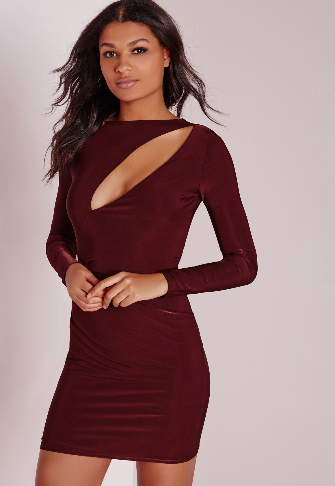 46a2583a97 Lyst - Missguided Slinky Long Sleeve Bodycon Dress Burgundy in Red