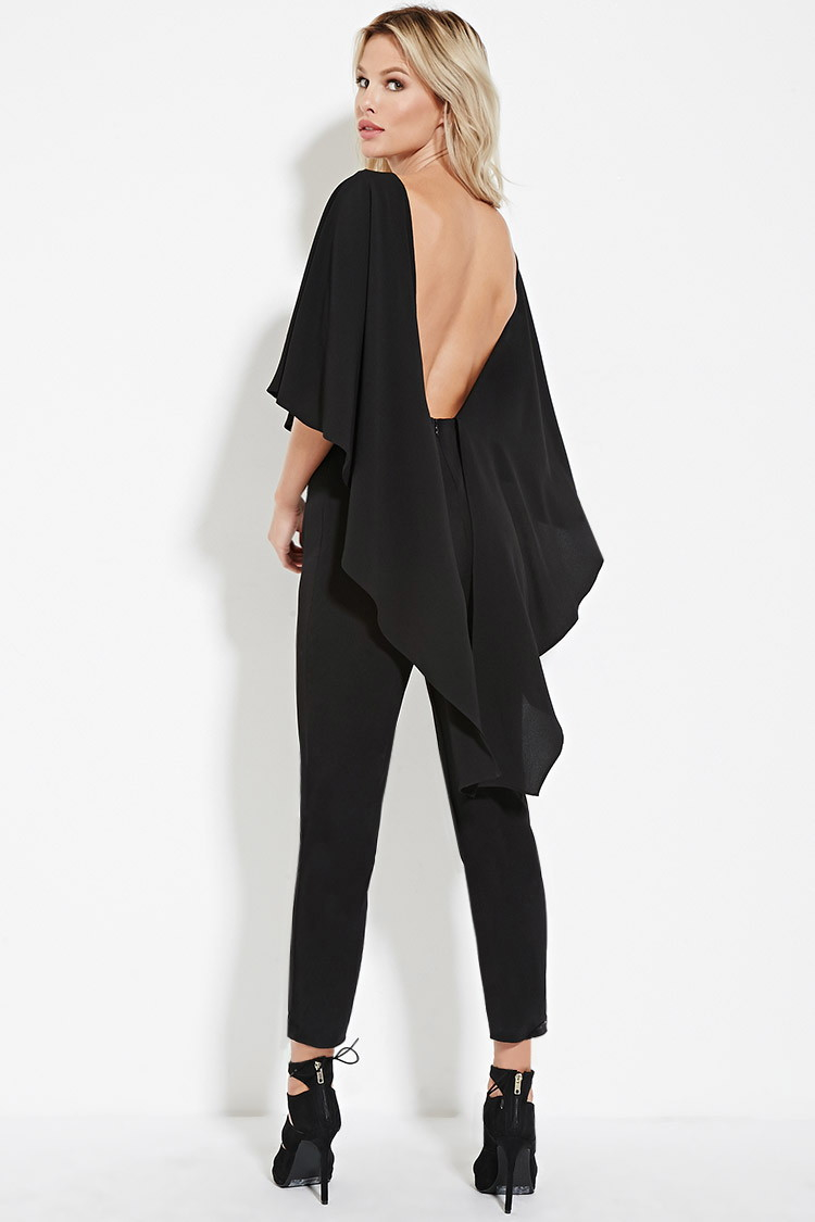 3021a19f0e5 Lyst - Forever 21 Open-back Cape Jumpsuit in Black