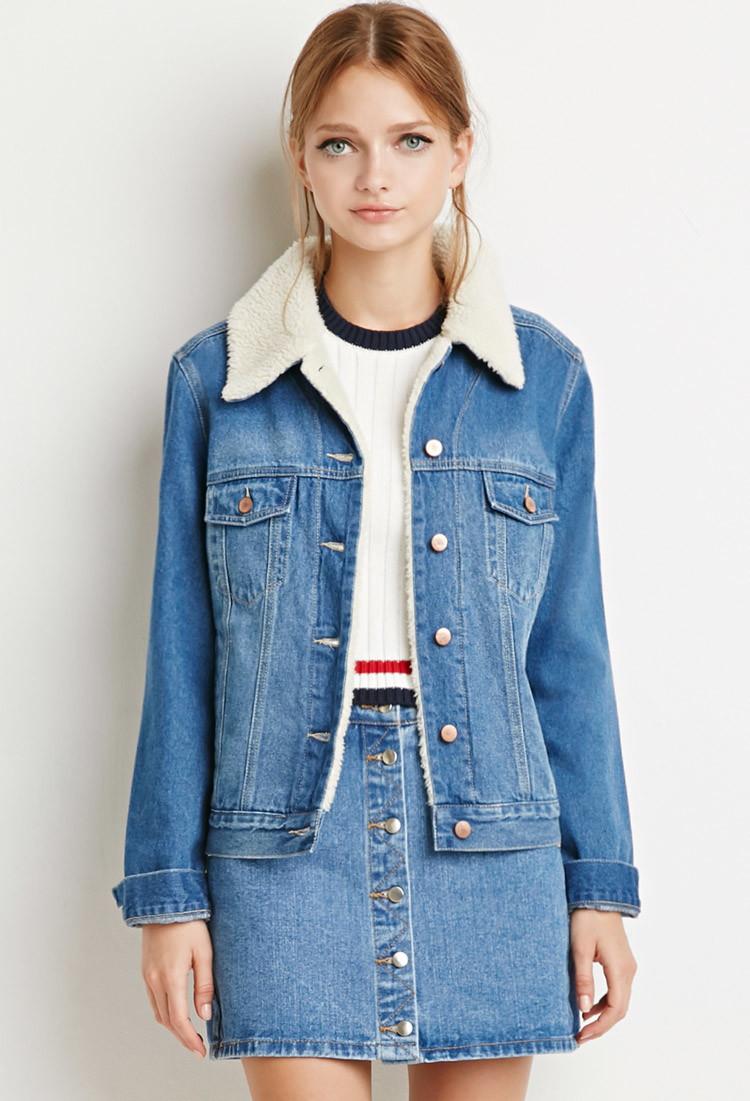 Lyst - Forever 21 Faux Shearling Denim Jacket In Blue