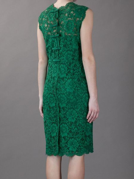 Valentino Fitted Lace Dress In Green Lyst