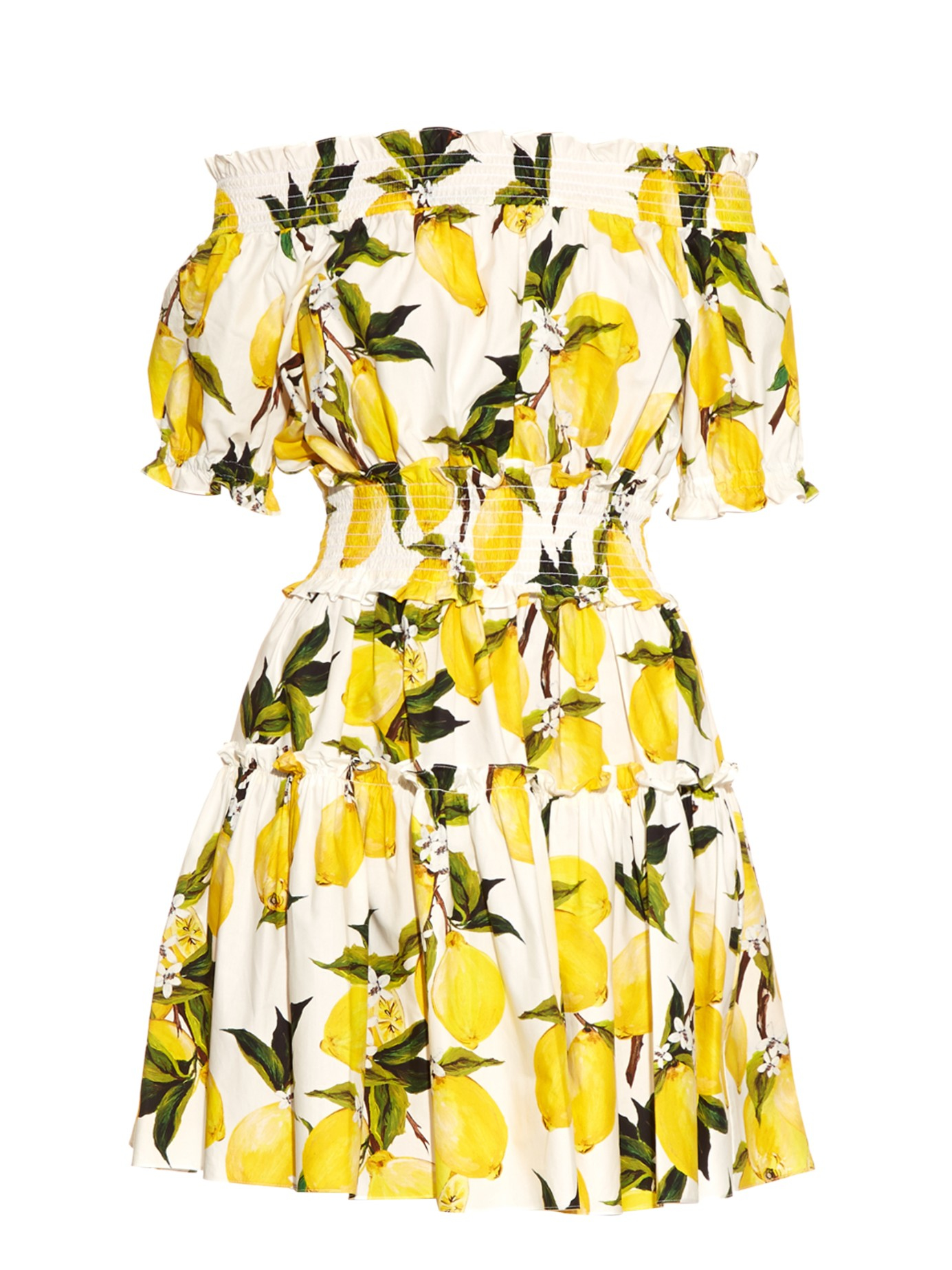 d8251243359 Lyst - Dolce   Gabbana Printed Off-the-Shoulder Dress in Yellow