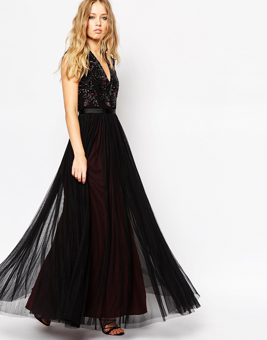 Lyst - Needle & Thread V Neck Embellished Top Maxi Dress in Black