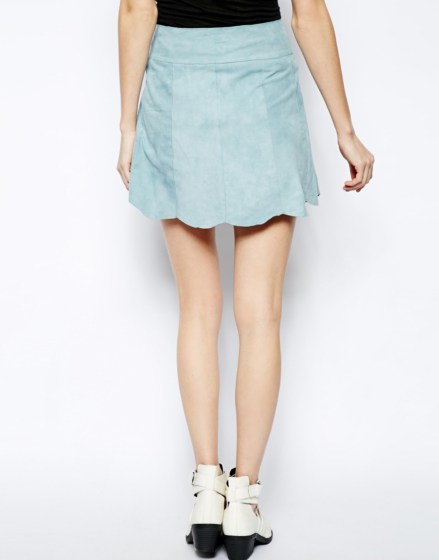 951eaffc0e8e Ganni Ingrid Suede Skirt with Button Front in Blue - Lyst