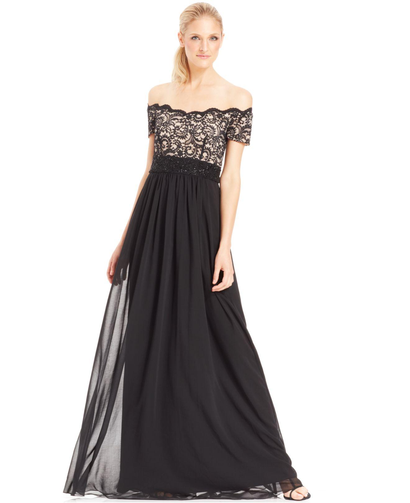 Lyst - Js Boutique Off-The-Shoulder Embellished Lace Gown in Black