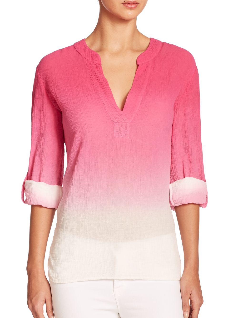 Lyst diane von furstenberg esti ombr cotton gauze shirt for Diane von furstenberg shirt