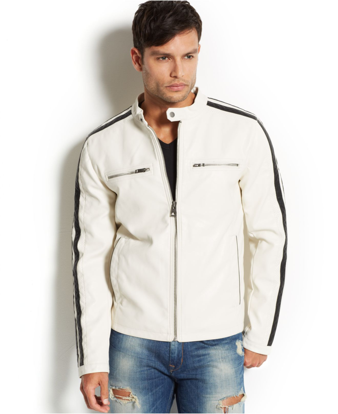Guess Faux-Leather Moto Jacket in White for Men | Lyst