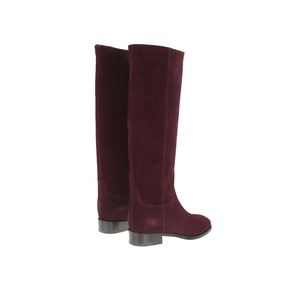 santoni burgundy suede boots in lyst