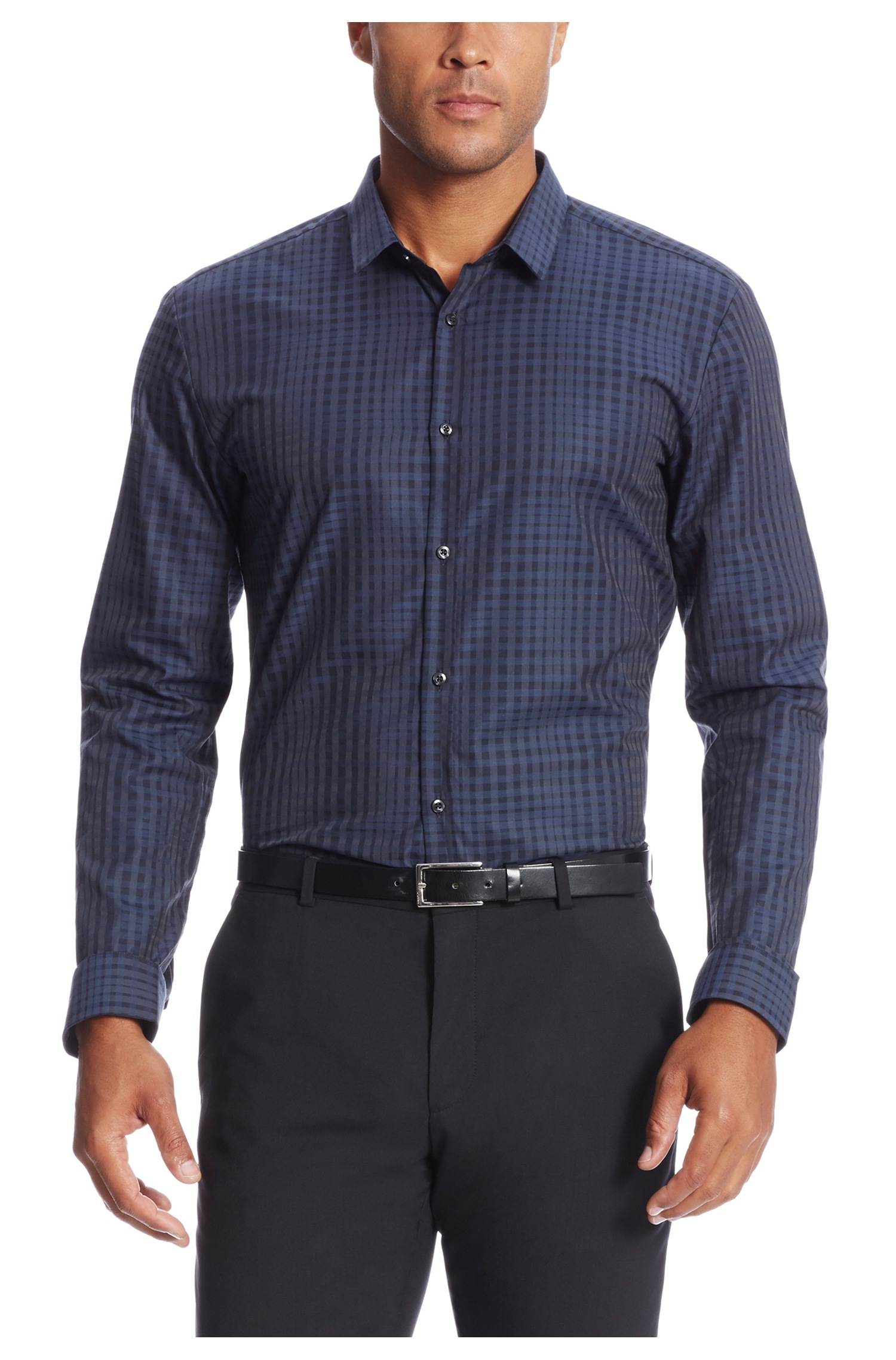 Hugo ero slim fit cotton button down shirt in blue for Athletic fit button down shirts