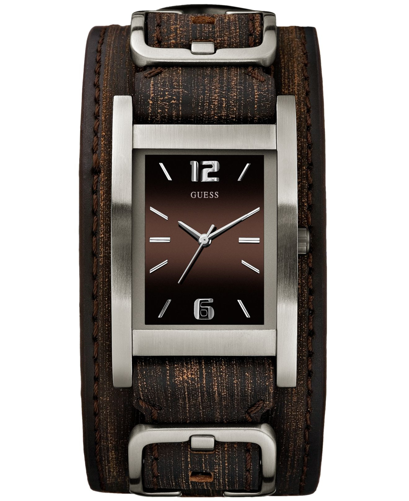 guess s brown leather cuff 40x32mm