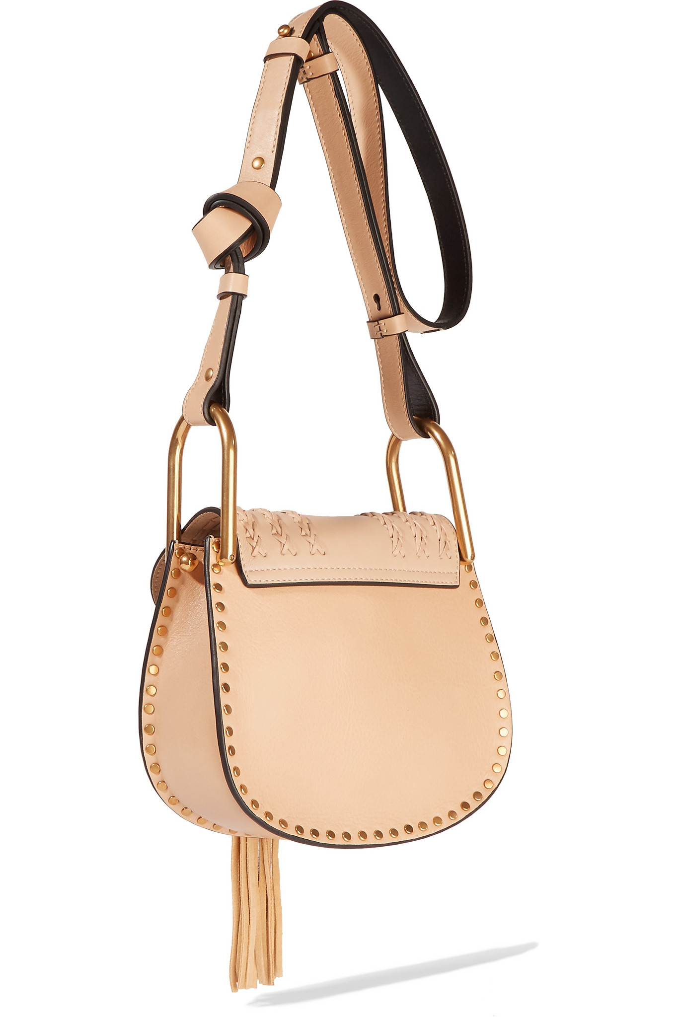 Chlo�� Chlo�� Hudson Mini Whipstitched Leather Shoulder Bag in Beige ...