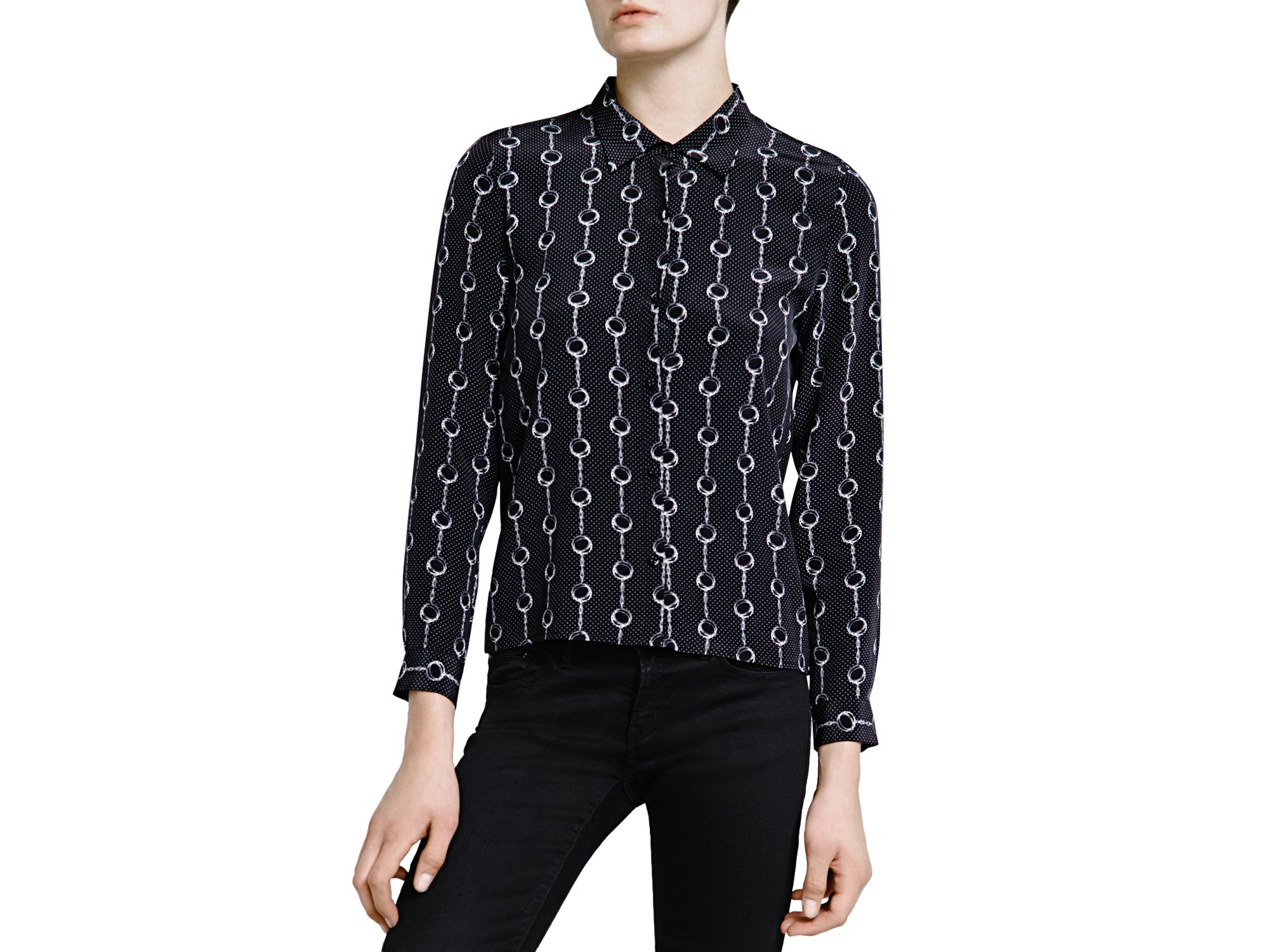 106e6ab3855186 The Kooples Handcuff Print Silk Crepe De Chine Shirt in Black - Lyst
