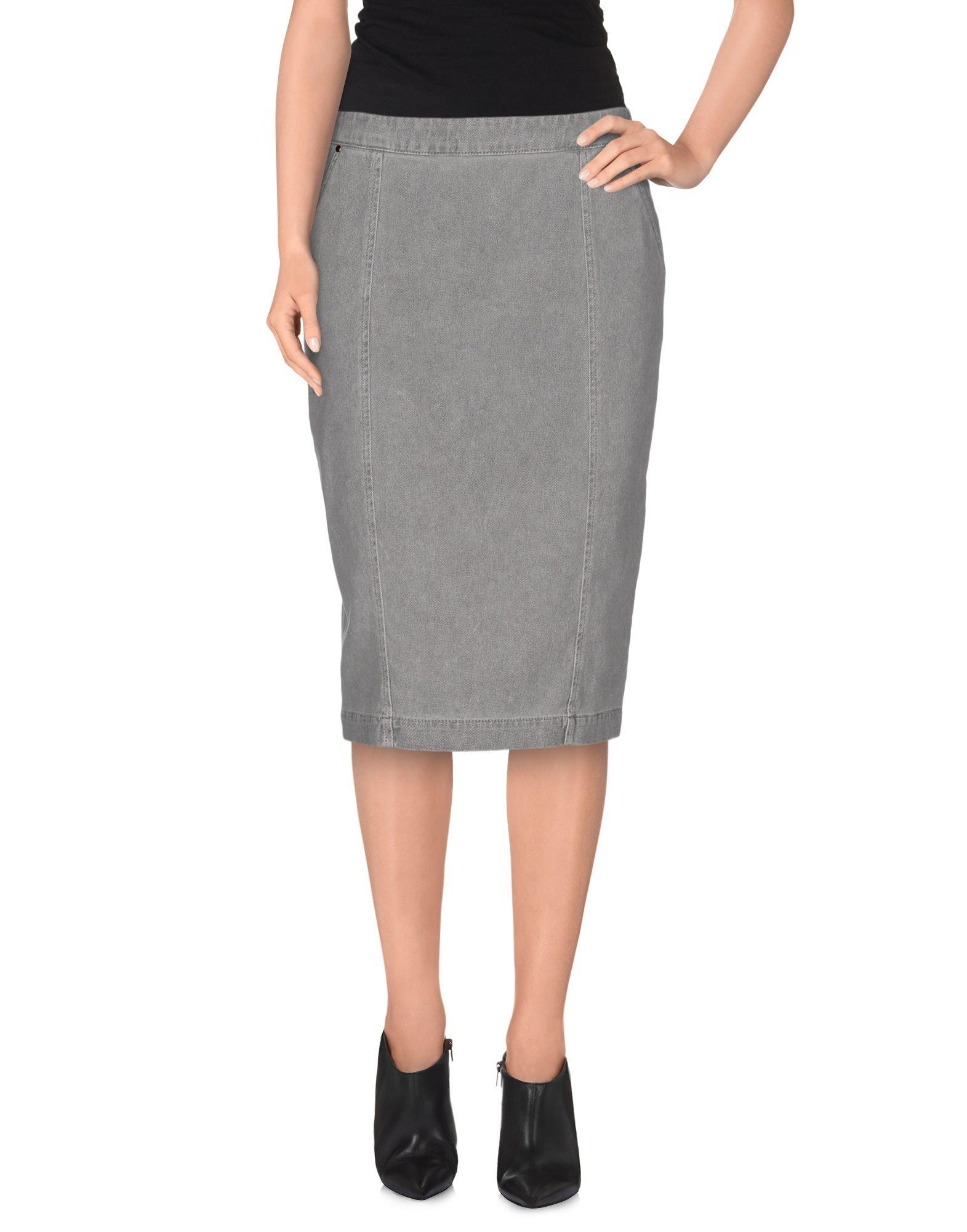 manila grace denim skirt in gray lyst