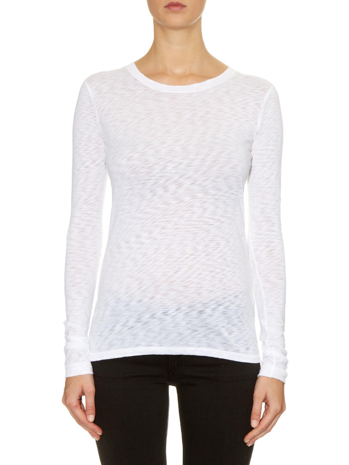 Lyst rag bone the classic long sleeved t shirt in white for Rag and bone white t shirt