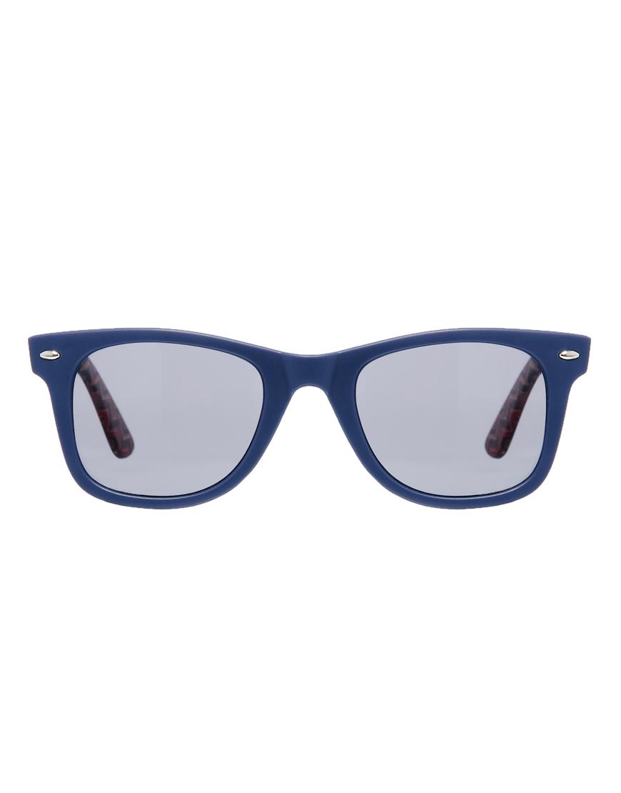 97d2b245a62 Lyst - ASOS Wayfarer Sunglasses with Aztec Print Arms in Blue for Men