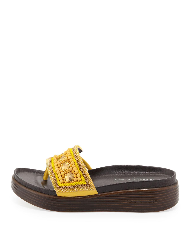 adffc6a889c Lyst - Donald J Pliner Fifi Beaded Platform Sandal in Yellow