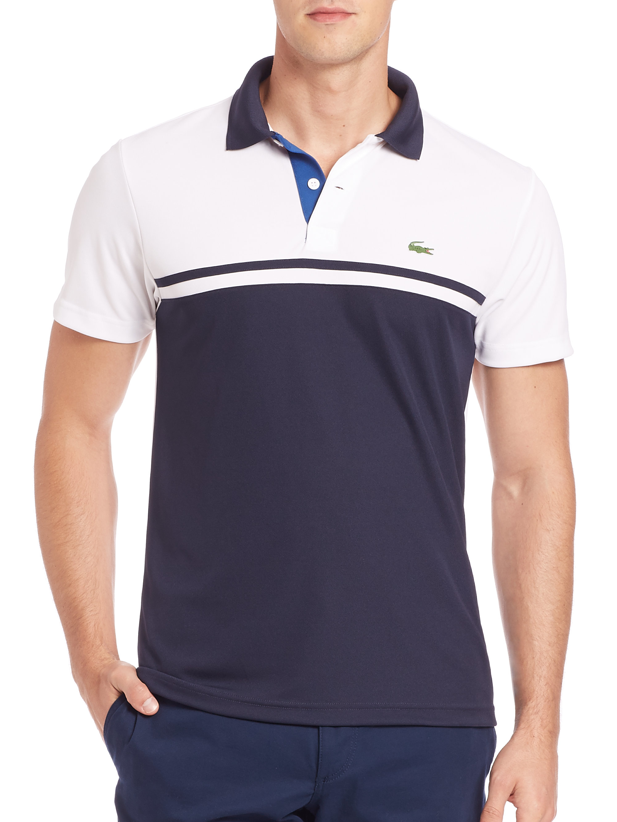 For Lacoste Colorblock Polo Dry Ultra White Lyst In Men CreBoQdxW
