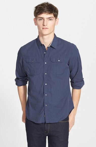 Todd snyder extra trim fit military shirt in blue for men for Extra trim fit dress shirt