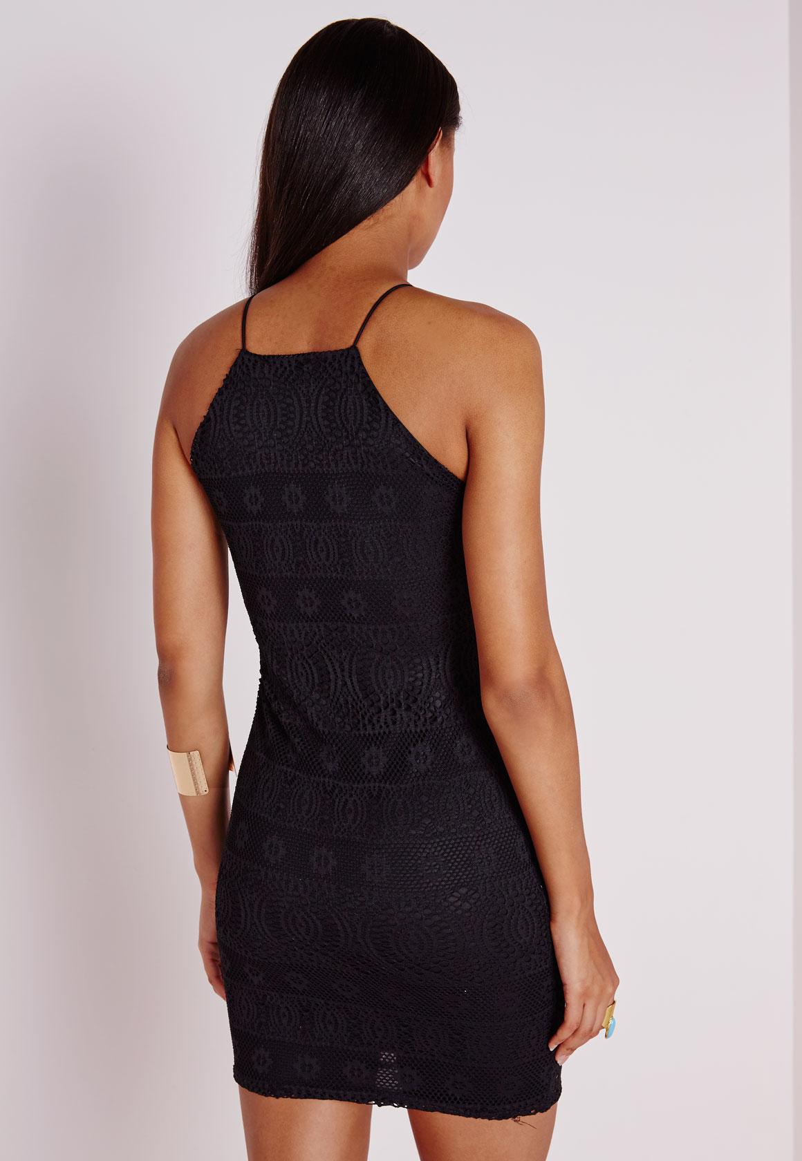 Knee black strappy straight neck bodycon dress nike macy's