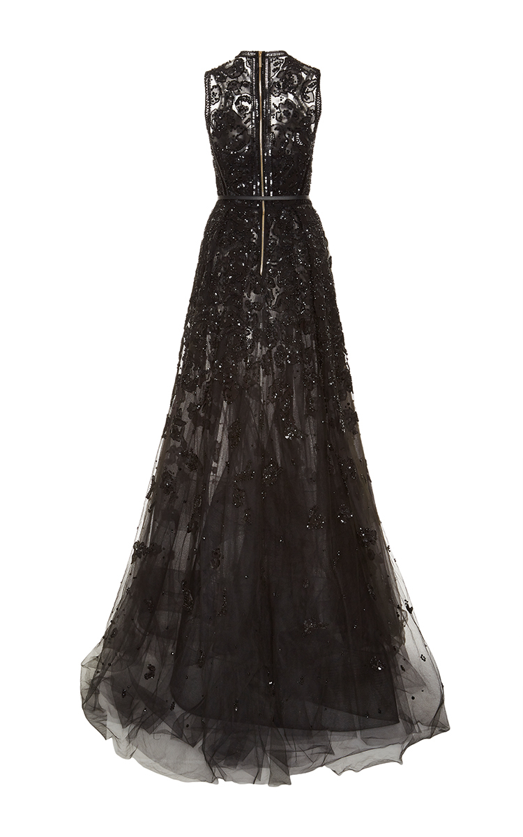 Lyst Elie Saab Embroidered Tulle And Silk Georgette Gown