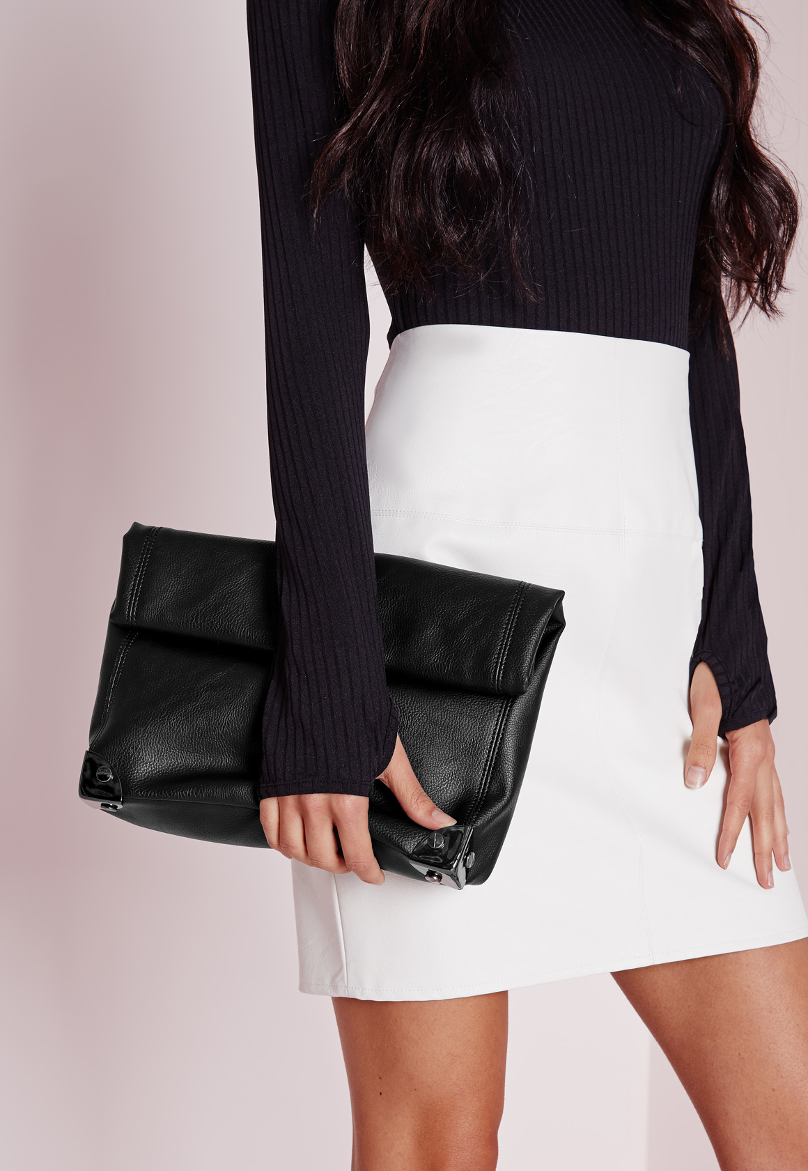 Missguided Oversized Roll Top Clutch Bag Black in Black   Lyst