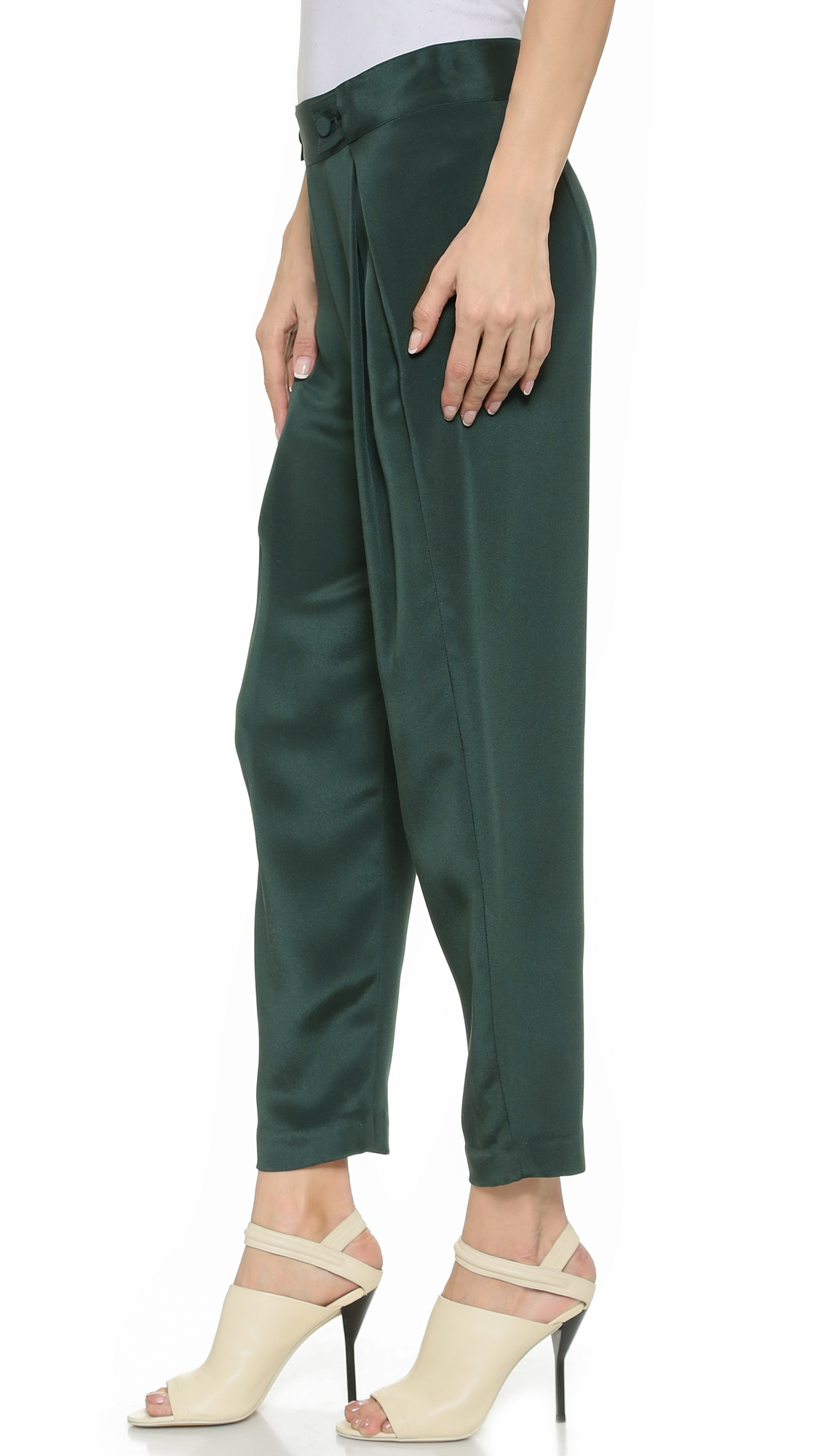 Lyst - 3.1 Phillip Lim Silk Waist Tab Pants - Greenleaf in Green