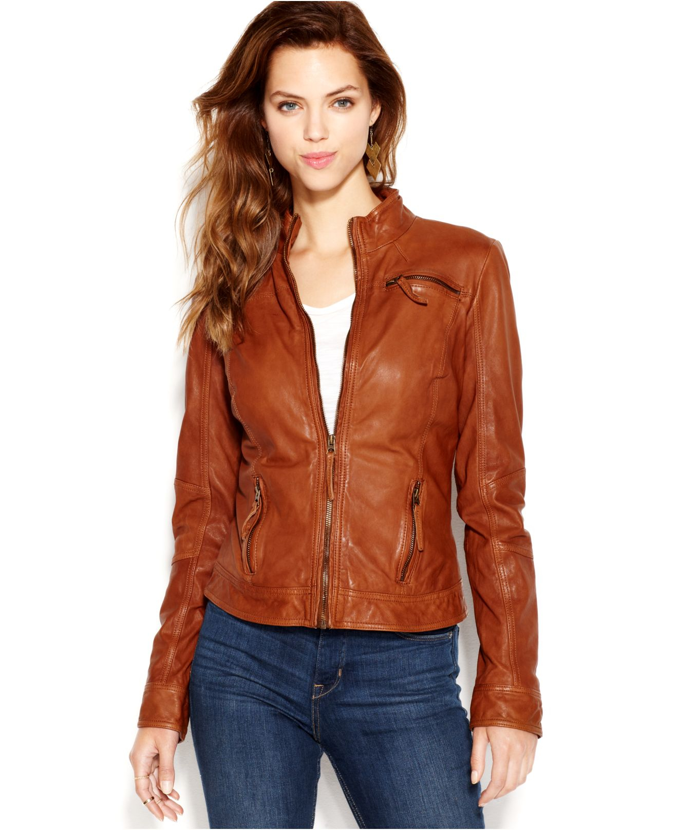 Brown Leather Jacket Womens Clothing - Jacket