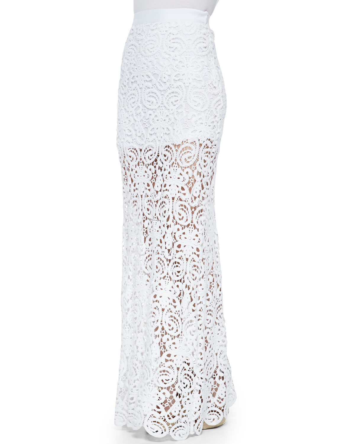 Miguelina Celine Fitted Crochet Maxi Skirt in White | Lyst