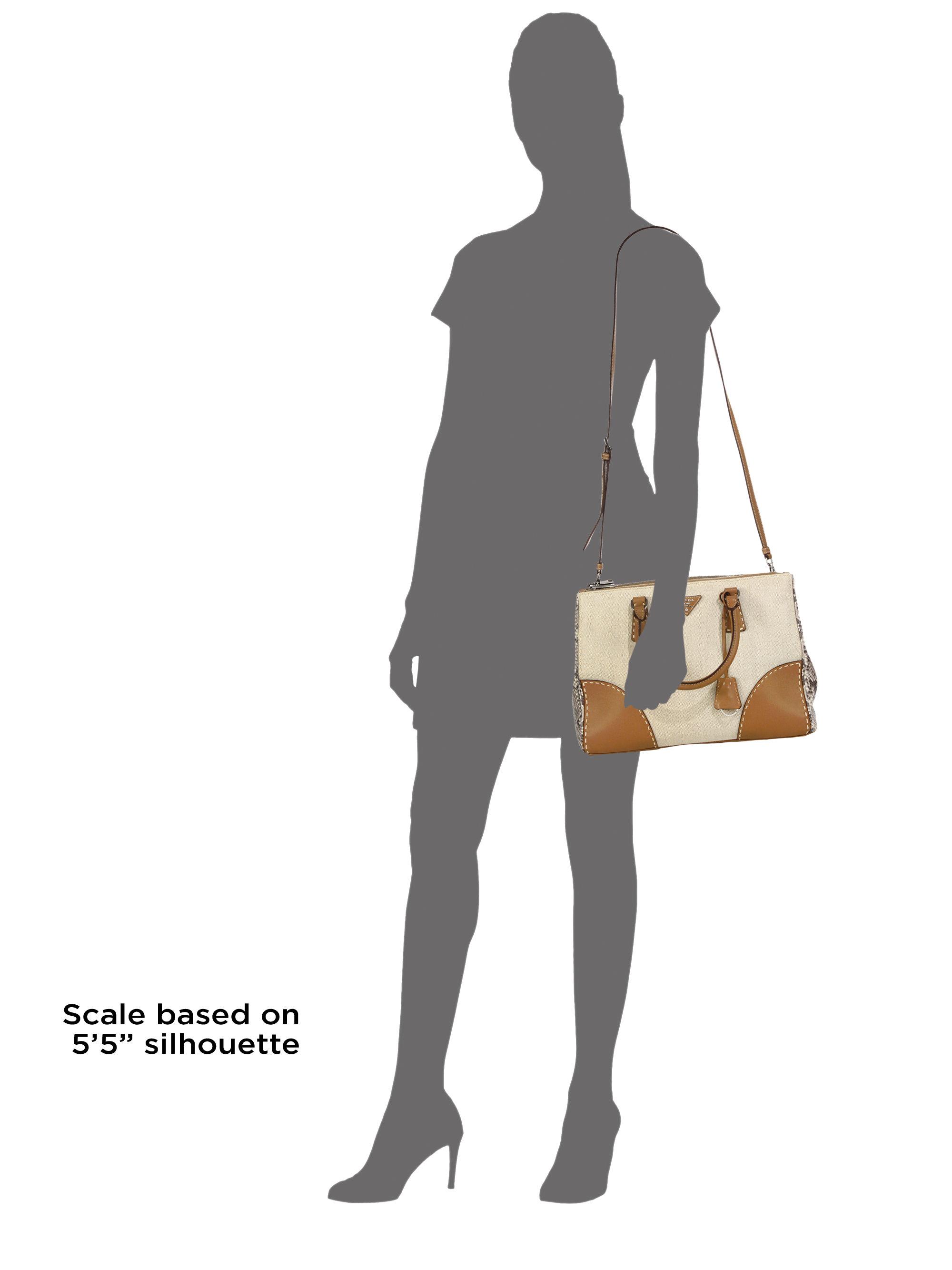 Prada Canvas \u0026amp; Python Double Bag in Brown (No Color) | Lyst