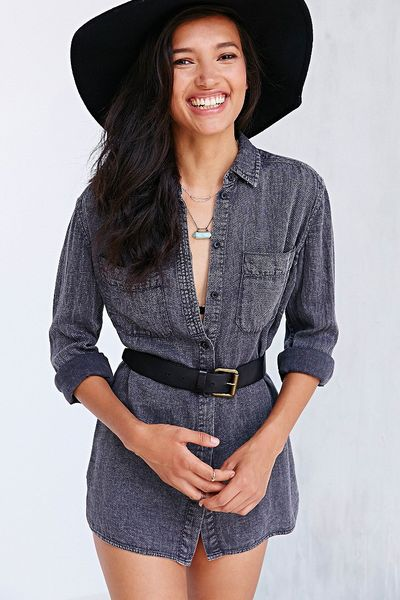 Bdg military waffle button down shirt in gray dark grey for Grey button down shirt
