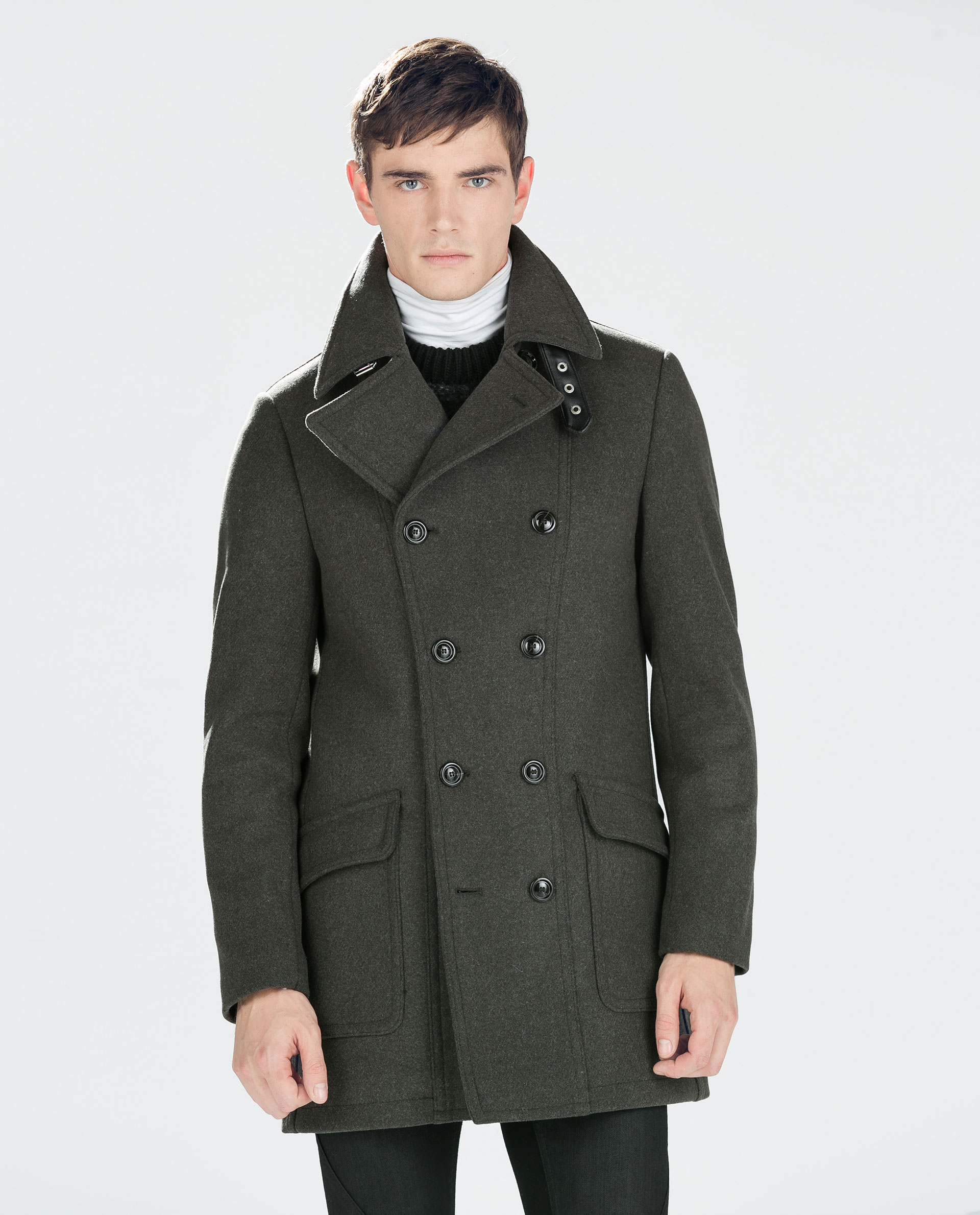Zara Double Breasted Coat in Green for Men | Lyst