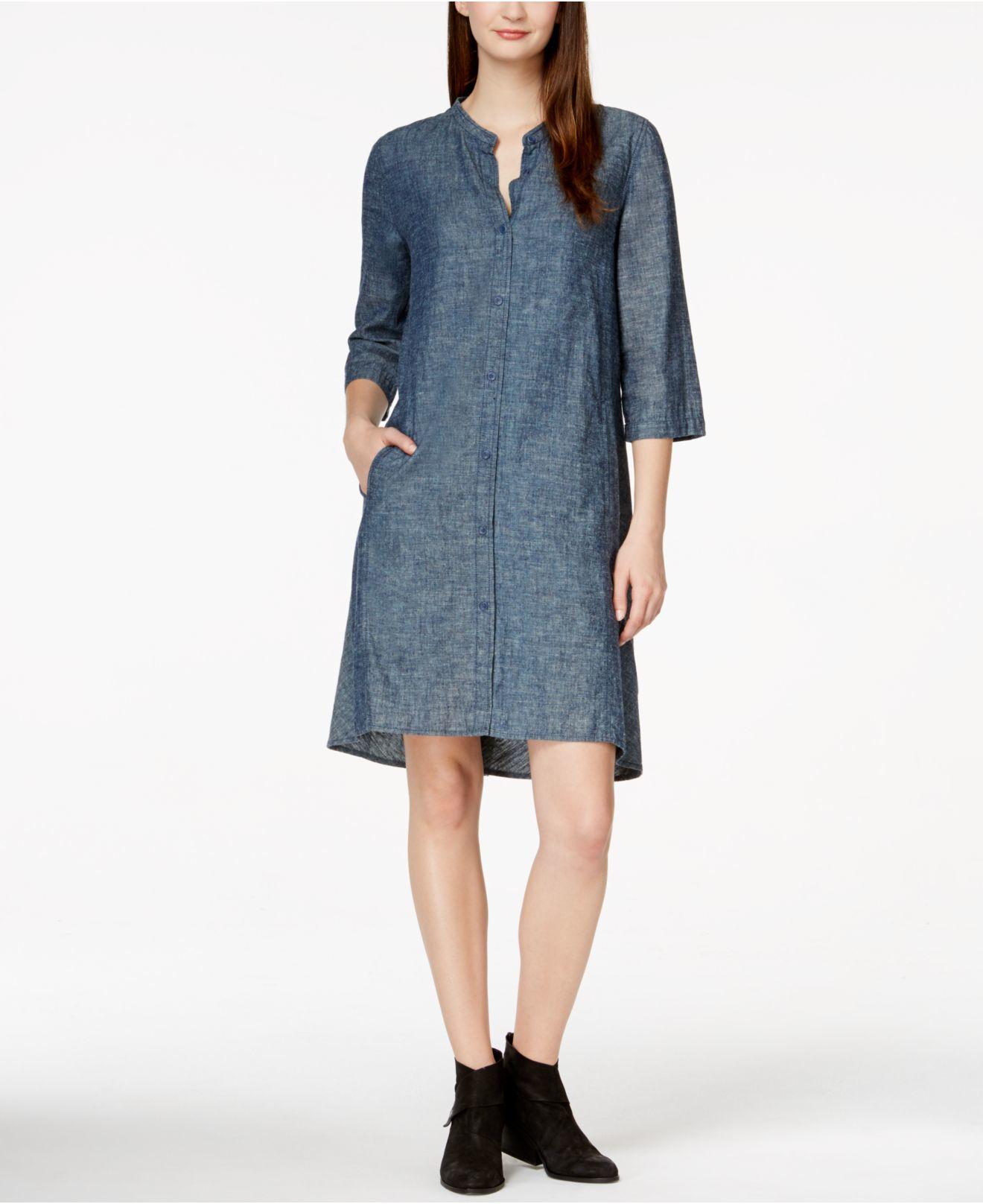 c3f1206cdef Lyst - Eileen Fisher Mandarin-collar Denim Shirtdress in Blue