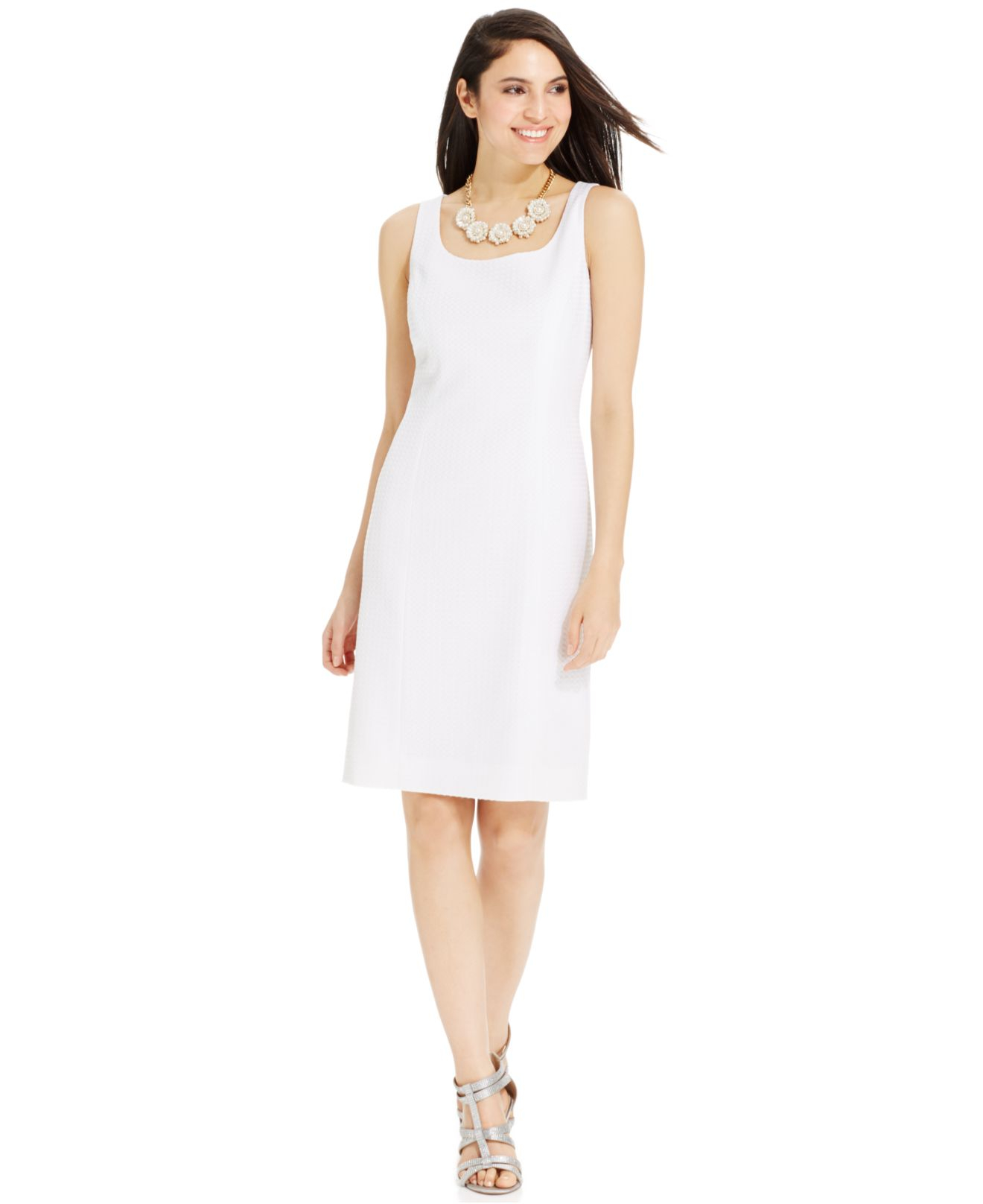 Tahari Textured Sleeveless Dress Suit in White | Lyst