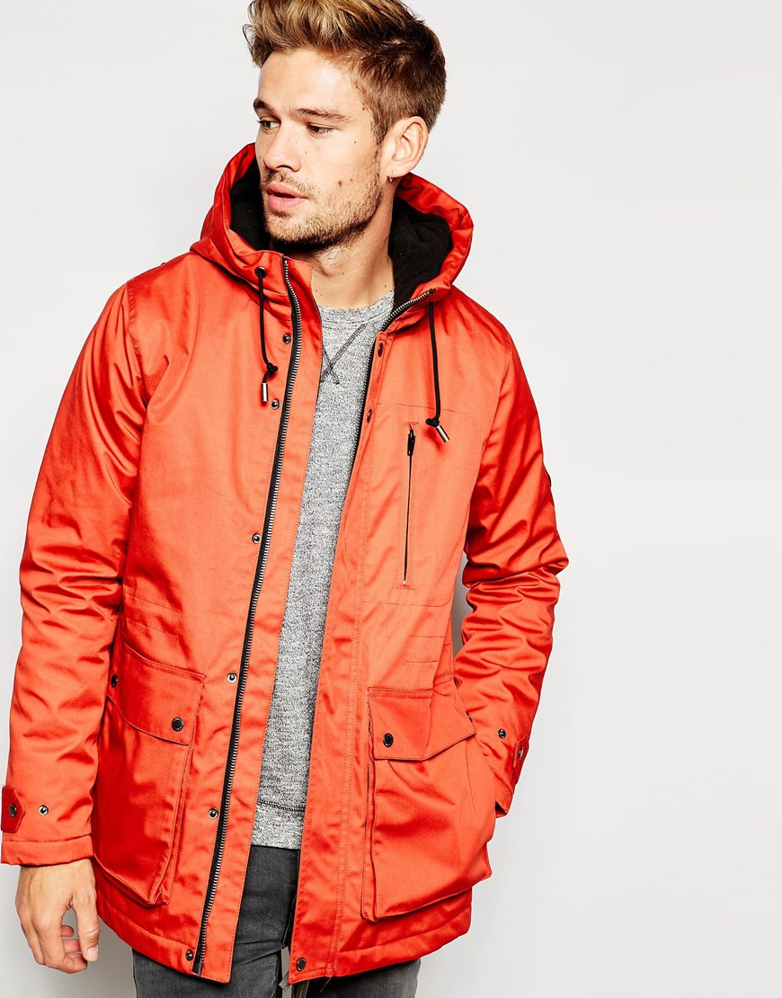 Native youth Parka With Fleece Lining in Orange for Men | Lyst